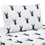 3 pc Twin Sheet Set for Navy and White Woodland Deer Bedding Collection by Sweet Jojo Designs