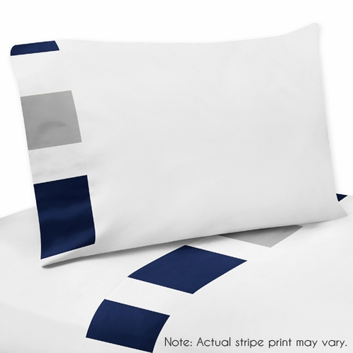 3 pc Twin Sheet Set for Navy Blue and Gray Stripe Bedding Collection - Click to enlarge