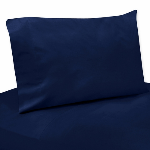3 pc Twin Sheet Set for Navy Blue and Gray Stripe Bedding Collection - Solid Navy - Click to enlarge