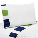 3 pc Twin Sheet Set for Navy Blue and Lime Green Stripe Bedding Collection