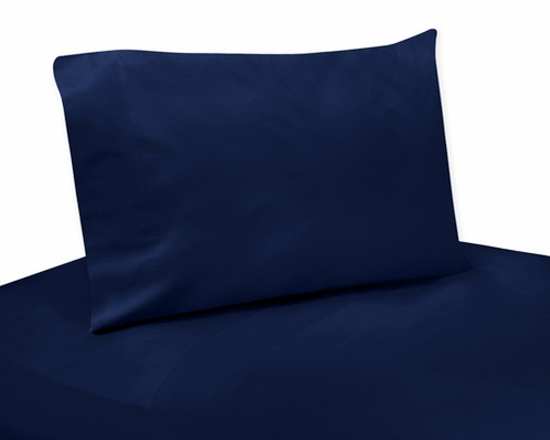 3 pc Twin Sheet Set for Navy Blue and Orange Stripe Bedding Collection - Solid Navy - Click to enlarge