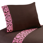 4 pc Queen Sheet Set for Pink and Brown Bella Bedding Collection