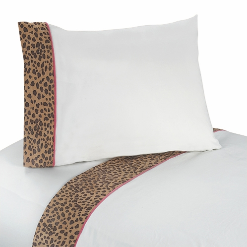 3 pc Twin Sheet Set for Pink and Brown Cheetah Girl Bedding Collection - Click to enlarge