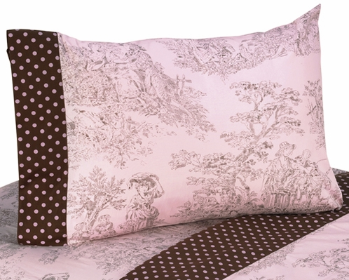 3 pc Twin Sheet Set for Pink and Brown Toile Bedding Collection - Click to enlarge