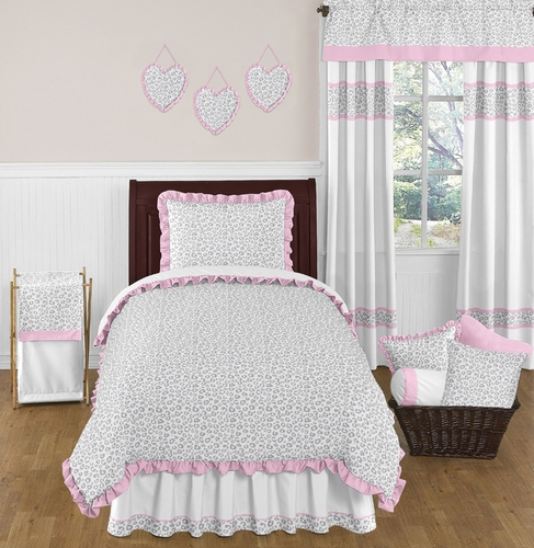 Pink and Gray Kenya Childrens and Kids Bedding - 4pc Twin Set by Sweet Jojo Designs - Click to enlarge