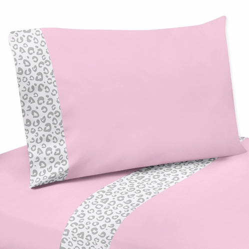3 pc Twin Sheet Set for Pink and Gray Kenya Bedding Collection - Click to enlarge
