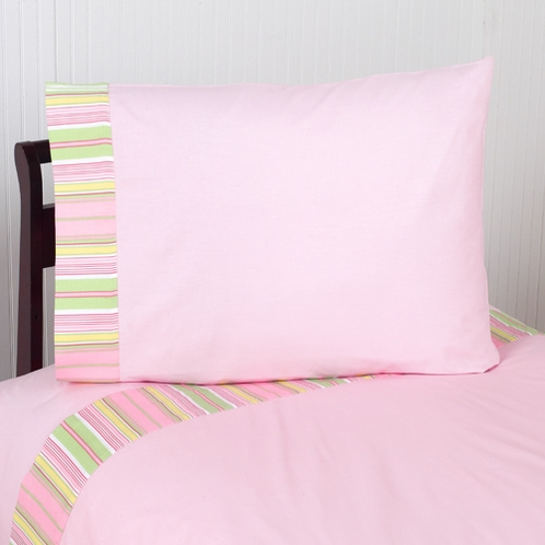 3 pc Twin Sheet Set for Pink and Green Blossom Bedding Collection - Click to enlarge