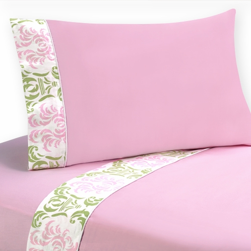 3 pc Twin Sheet Set for Pink and Lime Juliet Bedding Collection - Click to enlarge