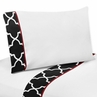 3 pc Twin Sheet Set for Red and Black Trellis Bedding Collection