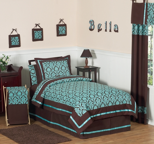 Turquoise and Brown Bella Children's & Teen Bedding - 4 pc Twin Set - Click to enlarge