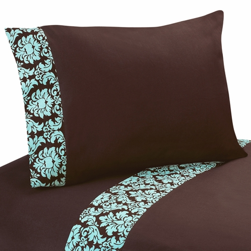4 pc queen sheet set for turquoise and brown bella bedding collection click to enlarge