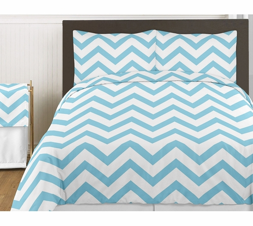 Turquoise and White Chevron 3pc Childrens and Teen Zig Zag Full / Queen Bedding Set Collection - Click to enlarge