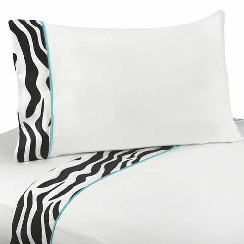 4 pc Queen Sheet Set for Turquoise Funky Zebra Bedding Collection - Click to enlarge