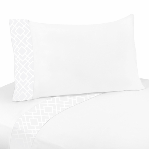 3 pc Twin Sheet Set for White Diamond Jacquard Modern Bedding Collection by Sweet Jojo Designs - Click to enlarge