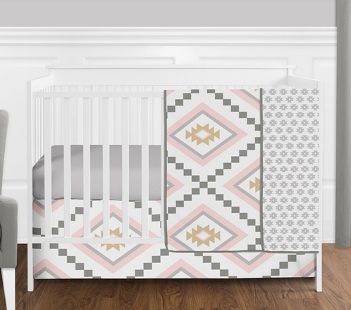 blush pink and grey boho and tribal aztec baby girl crib bedding set - Baby Girl Crib Bedding