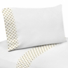 4 pc Gold and White Polka Dot Queen Sheet Set for Amelia Bedding Collection