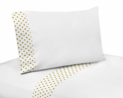 4 pc Gold and White Polka Dot Queen Sheet Set for Amelia Bedding Collection - Click to enlarge
