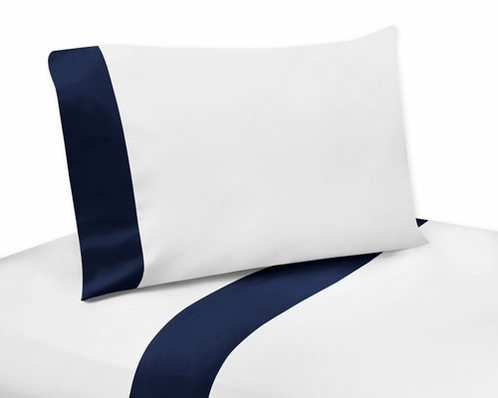 4 pc Navy and White Queen Sheet Set for Blue Whale Bedding Collection - Click to enlarge