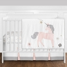 4 pc. Pink, Grey and Gold Unicorn Baby Girl Crib Bedding Set without Bumper by Sweet Jojo Designs