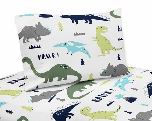 4 pc Queen Sheet Set for Blue and Green Mod Dinosaur Bedding Collection - Click to enlarge