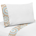 3 pc Twin Sheet Set for Blue and Taupe Hayden Bedding Collection
