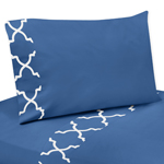 3 pc Twin Sheet Set for Blue and White Trellis Bedding Collection