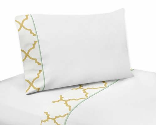 4 pc Queen Sheet Set for Gold, Mint, Coral and White Ava Bedding Collection - Click to enlarge