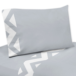 4 pc Queen Sheet Set for Gray and White Chevron Bedding Collection