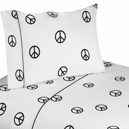 4 pc Queen Sheet Set for Groovy Peace Sign Bedding Collection - Click to enlarge