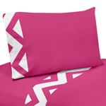 3 pc Twin Sheet Set for Hot Pink and White Chevron Bedding Collection
