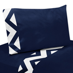 4 pc Queen Sheet Set for Navy and White Chevron Zig Zag Bedding Collection