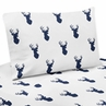 4 pc Queen Sheet Set for Navy and White Woodland Deer Bedding Collection by Sweet Jojo Designs