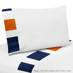 4 pc Queen Sheet Set for Navy Blue and Orange Stripe Bedding Collection