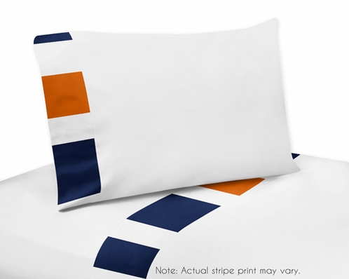 4 pc Queen Sheet Set for Navy Blue and Orange Stripe Bedding Collection - Click to enlarge
