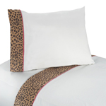 4 pc Queen Sheet Set for Pink and Brown Cheetah Girl Bedding Collection