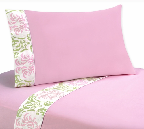 4 pc Queen Sheet Set for Pink and Lime Juliet Bedding Collection - Click to enlarge