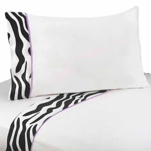 4 pc Queen Sheet Set for Purple Funky Zebra Bedding Collection - Click to enlarge