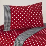 4 pc Queen Sheet Set for Red and White Polka Dot Ladybug Bedding Collection