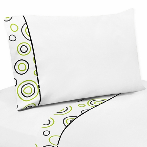 4 pc Queen Sheet Set for Spirodot Lime and Black Bedding Collection by Sweet Jojo Designs - Click to enlarge