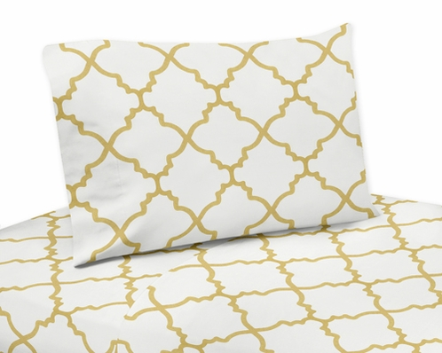 4 pc Queen Sheet Set for White and Gold Trellis Bedding Collection - Click to enlarge