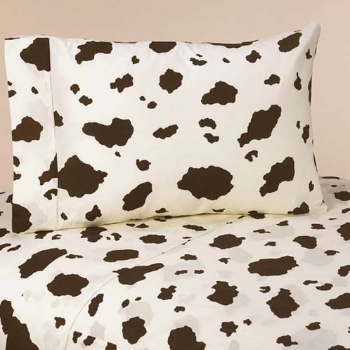 4 pc Queen Sheet Set for Wild West Cowboy Bedding Collection - Cow Print - Click to enlarge