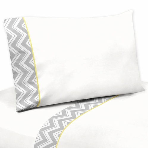 4 pc Queen Sheet Set for Yellow and Gray Chevron Zig Zag Bedding Collection by Sweet Jojo Designs - Click to enlarge