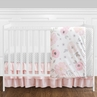 4 Pcs. Blush Pink, Grey and White Watercolor Floral Baby Girl Crib Bedding Set without Bumper by Sweet Jojo Designs - Rose Flower Polka Dot