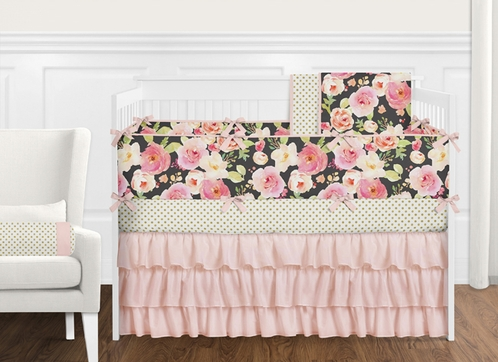 9 pc. Black, Blush Pink, Gold and White Shabby Chic Watercolor Floral Baby Girl Crib Bedding Set with Bumper by Sweet Jojo Designs - Rose Flower Polka Dot - Click to enlarge