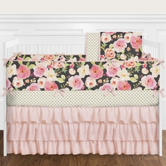 9 pc. Black, Blush Pink, Gold and White Shabby Chic Watercolor Floral Baby Girl Crib Bedding Set with Bumper by Sweet Jojo Designs - Rose Flower Polka Dot