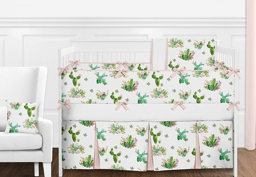9 pc. Blush Pink, Green and White Cactus Floral Girls Baby Bedding Crib Set with Bumper by Sweet Jojo Designs - Click to enlarge