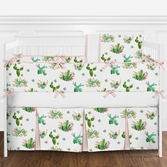 9 pc. Blush Pink, Green and White Cactus Floral Girls Baby Bedding Crib Set with Bumper by Sweet Jojo Designs