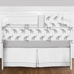 9 pc. Grey and White Watercolor Elephant and Polka Dots Girls or Boys Gender Neutral Baby Bedding Crib Set with Bumper by Sweet Jojo Designs