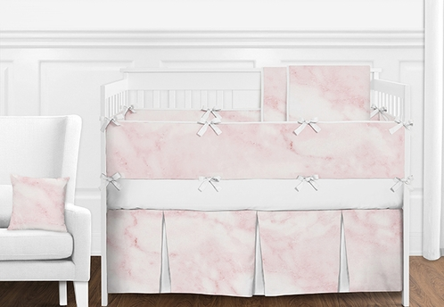 9 pc. Modern Pink and White Marble Girls Baby Bedding Crib Set with Bumper by Sweet Jojo Designs - Click to enlarge