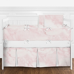 9 pc. Modern Pink and White Marble Girls Baby Bedding Crib Set with Bumper by Sweet Jojo Designs
